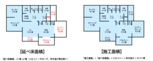 延べ床面積施工面積