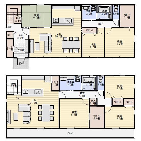 完全分離型二世帯住宅60坪間取り