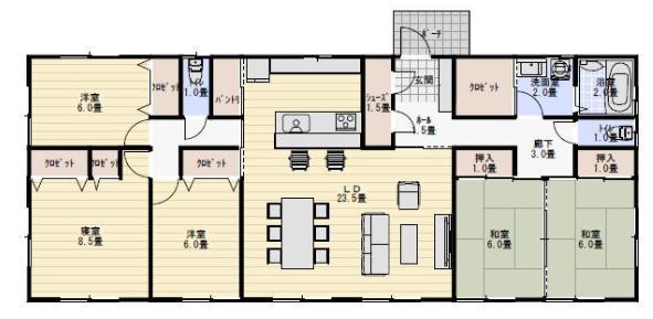 完全同居型二世帯住宅平屋間取り図