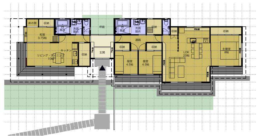 完全分離型平屋二世帯住宅間取り図