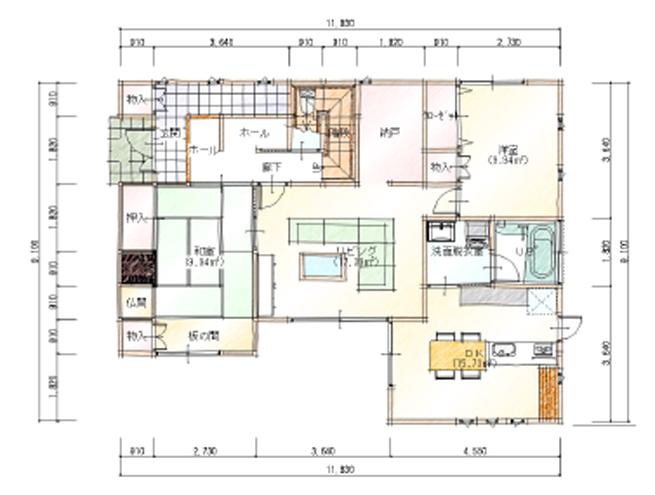 完全分離型二世帯住宅50坪間取り