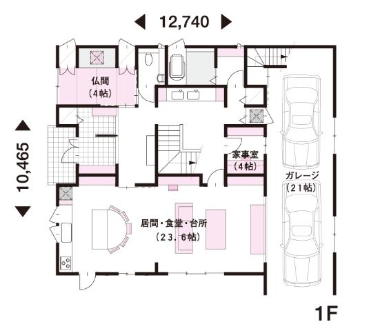 完全分離型二世帯住宅80坪間取り