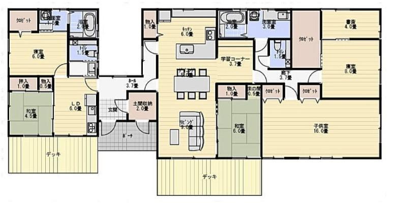 部分共有型二世帯住宅平屋間取り図