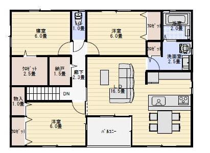 完全分離型二世帯住宅「上下割り」間取り