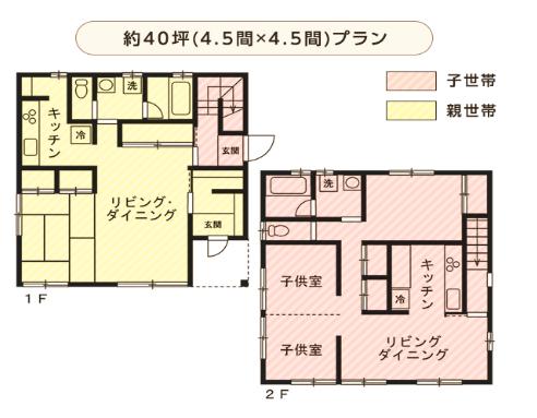 完全分離二世帯住宅40坪間取り