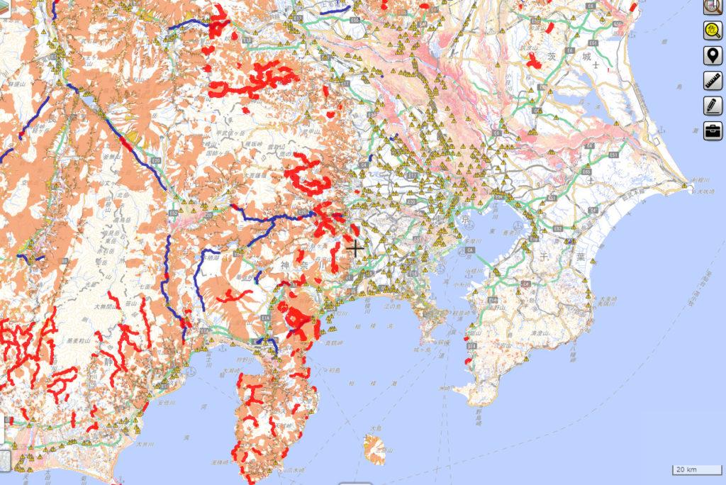 東京でのハザードマップ